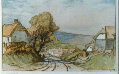 View of Bartlow Road, drawing by Donald Maxwell, 'The Last Village in Essex', in 1925.