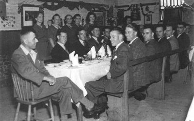 Welcome home dinner in village hall, April 1946