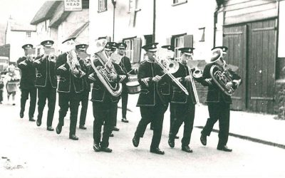 Hadstock Silver Band (refounded in 1950s) marching passed the Kings Head in Linton Road