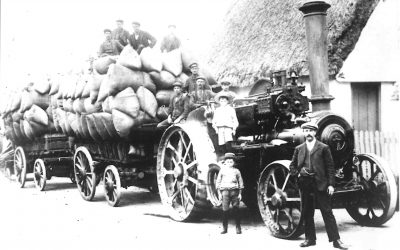 Marcus Barker with the harvest, 1900s