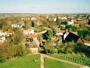 Village view from church tower, 1998